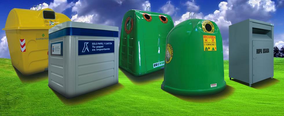 Contenedores de basura y reciclaje